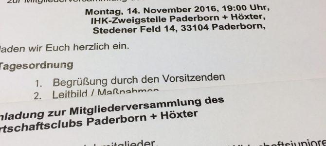 Jahreshauptversammlung des Wirtschaftsclubs Paderborn + Höxter